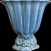 Cowan Pottery Large Seahorse Fan Vase, Larkspur Lustre, Ca. 1926