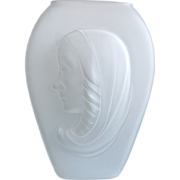 Phoenix Glass Sculptured Artware Madonna Vase, Satin Frost, Circa 1943