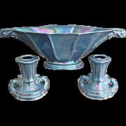 Cowan Pottery Mantle Set, Larkspur Lustre, Circa 1925