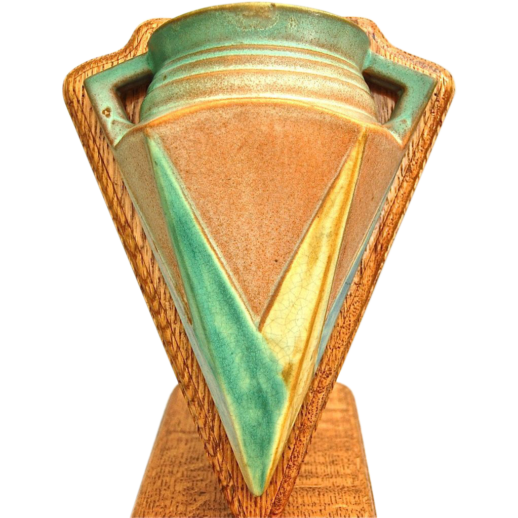 Roseville Pottery Futura Wall Pocket #1261-8 w/Stand, Ca. 1929