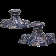 Fabulous Cowan Pottery Large Candlesticks Ca. 1925, Pair, Delphinium Lustre
