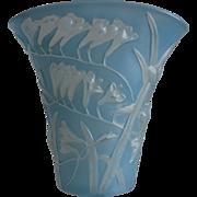 REDUCED Phoenix Glass Sculptured Artware Freesia Fan Vase, Blue Wash, w/Label