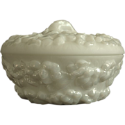 REDUCED Phoenix Sculptured Artware Phlox Covered Candy Dish w/label, Pearl Lustre, Ca. 1934