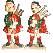 Vintage 1950's LEFTON Scotch Bagpipes Girl and Boy Figurines
