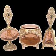 3 Piece Mid Century Ormalu Vanity Set