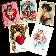 5 Vintage Valentine Postcards