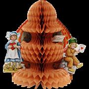 Nice Vintage Honeycomb Valentine with Dutch Children
