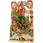 Beautiful Vintage Fold Out Valentine with Children and Flowers.