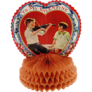 Pair (2) of 1930's folded Honeycomb Valentines