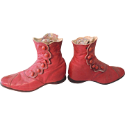 SALE PENDING Loveliest Red High Top Leather Button Boots for Child  Toddler or Large Doll