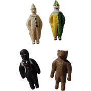 "Tiny Celluloid ""Miniature Circus"" with Bear * Black Doll & Clowns"