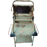 SOLD Nice Larger Sized Painted Blue Tin Washstand