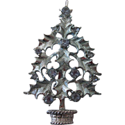 Blue Holly Vintage Christmas Tree Holiday Jewelry Brooch