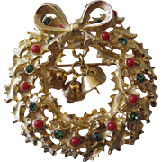 Christmas Wreath With Dangling Bells, Jewels and Berry Balls Pin