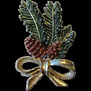 Christmas Pine Cone Foliage Holiday Pin