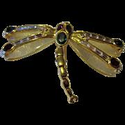 Huge KJL Jeweled Lucite Dragonfly Brooch