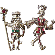 SALE Whimsical Cast Knight And King Vintage Jeweled Pins