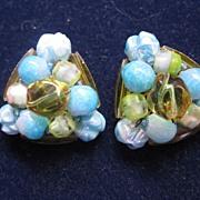 SALE Signed Schiaparelli art glass bead earrings
