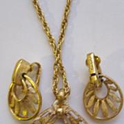 SALE Trifari Necklace and Earrings Demi Parure