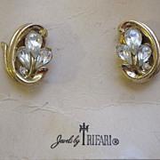 SALE Trifari Rhinestone Earrings, Original Card and Tag