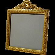 Mini Square Antique French Dore  Bronze Portrait/Picture Frame ca. 1870