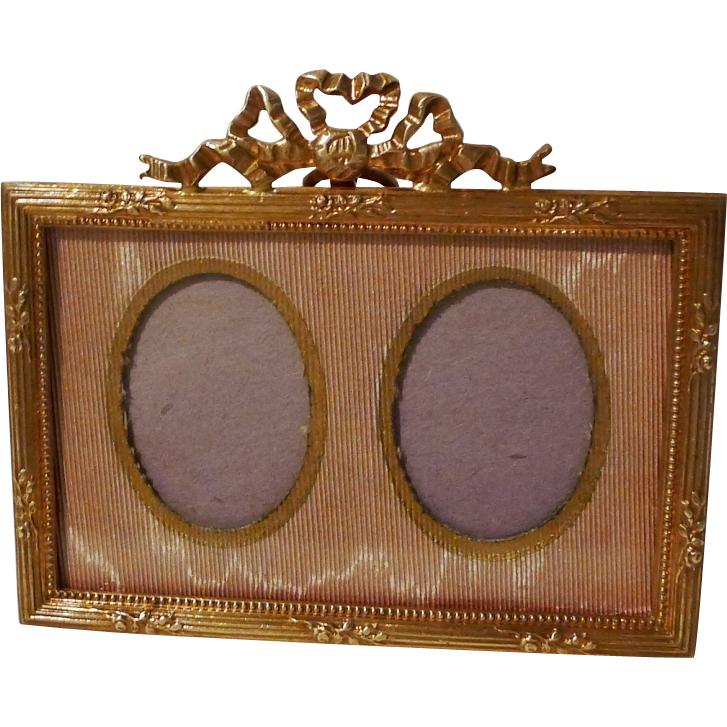 Gold-Plated French HORIZONTAL Mini Picture Frame 1890s