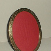"""Oval Brass Vintage Picture Frame with Engraved Design 8 3/4"""" high"""