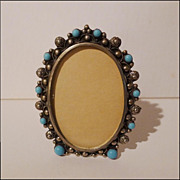 SOLD Vintage  BLUE GLASS Oval Frame Italy