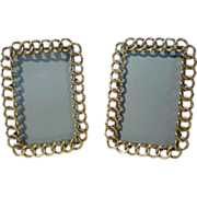 "Brass ""RING - Chain Link""  Pr. Picture Frames 4 3/4"" tall ca. 1870s"