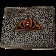 ART DECO Enamel & Hammered Metal Cigarette Box