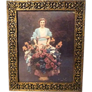 Floral Scroll-work BRASS Filigree 1940s 9X11 Picture Frame