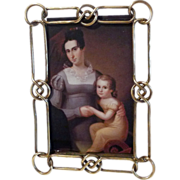 SOLD Brass Knot and Link ANTIQUE Picture Frame 8 1/2""