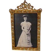 SOLD Antique Brass & ENAMEL Picture Frame Royal Mfg. Co.