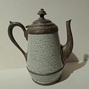 """FRENCH ENAMEL & Pewter Coffeepot 8"""" high 19th C."""