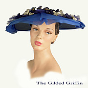 Vintage 1950s Wide Brim Picture Hat, In Scarce Large Size