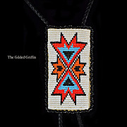 Country Western Vintage Hand Beaded Bolo Tie