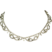Rare Vintage 1950s 3-Dimensional Rhinestone Necklace with Original Extension by Kramer