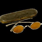 Rare Antique 14k White Gold Sunglasses Dated 1879 with Original Zinc Case