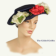 Vintage 1950s Floral Hat: Magnolias and Roses