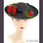 Early 1950s Marine Blue Saucer Hat with Red Floral Trim
