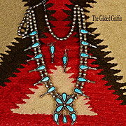 Vintage Estate Zuni Squash Blossom Necklace & Matching Earrings, Signed