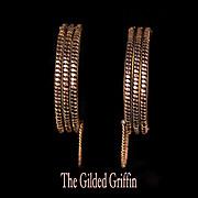 Authentic c 1860 Civil War Era Cuff or Wedding Bracelets, 14-karat Rolled Rose and Yellow Gold