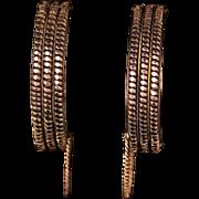 Authentic c 1860 Civil War Era Cuff or Wedding Bracelets, 14-karat Rolled Rose and ...