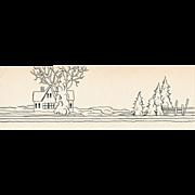 Authentic 1920s Original Landscape Drawing,  NOT PRINT, Fashion Illustration Study