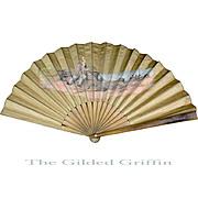 Antique French Linen Hand Fan, c 1890, Seaside Theme