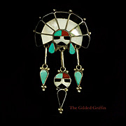 Authentic Signed Vintage Zuni Native American Sterling Silver Pendant or Brooch, circa 1978