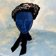 Pristine Victorian Evening Toque Black Velvet Sequined Bonnet