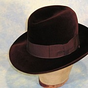 SOLD Luxurious 1940's Borsalino 'Qualita Extra Superiore' Brown Velour Felt Fedora Hat