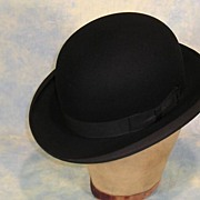 SOLD Pristine Vintage Edwardian Stetson Black Felt Bowler or Derby Hat