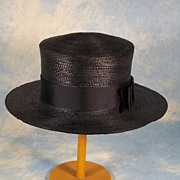 SOLD Gage Bros. Edwardian Straw Boater Ladies Vintage Hat